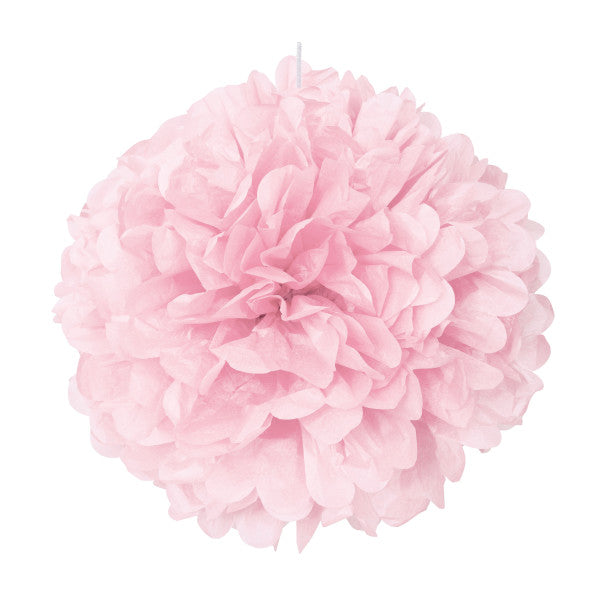 "Lovely Pink Solid 16"" Hanging Tissue Pom Pom"