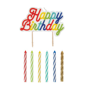 "Multi Colored Birthday Candles and Large ""Happy Birthday"" Pick Candle, 12ct"