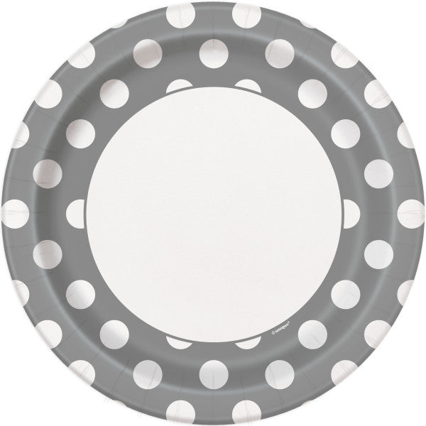 "Silver Dots Round 9"" Dinner Plates, 8ct"