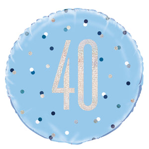 "18"" Glitz Blue & Silver Round Foil Balloon Packaged 40"