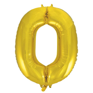 Gold Number 0 Shaped Foil Balloon 34""