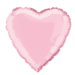 "Solid Heart Foil Balloon 18"", Packaged - Pastel Pink"