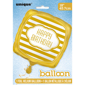 "Golden Birthday Square Foil Balloon 17.5"", Packaged"