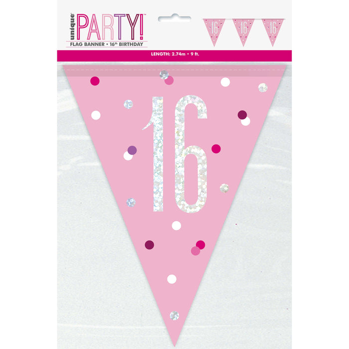 "Age ""16"" Glitz Pink & Silver Prismatic Plastic Flag Banner (9ft)"