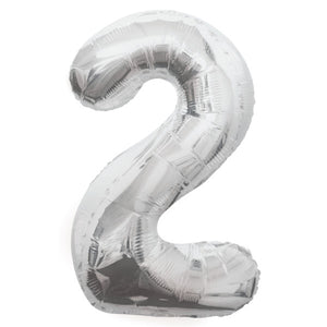 Silver Number 2 Shaped Foil Balloon 34""