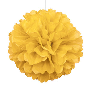 "Sunflower Yellow Solid 16"" Hanging Tissue Pom Pom"