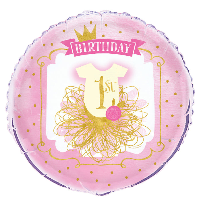 "Pink & Gold First Birthday Round Foil Balloon 18"", Packaged"