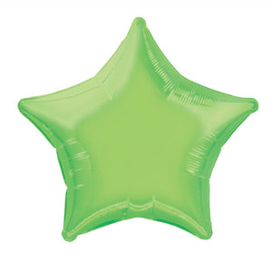 "Solid Star Foil Balloon 20"", Packaged - Lime Green"
