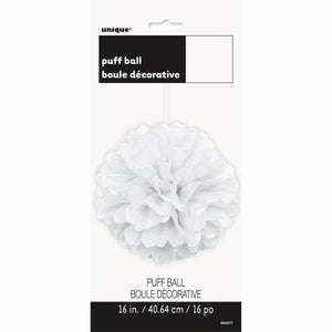"White Solid 16"" Hanging Tissue Pom Pom"