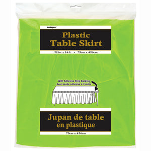 "Lime Green Solid Plastic Table Skirt, 29""x14ft"
