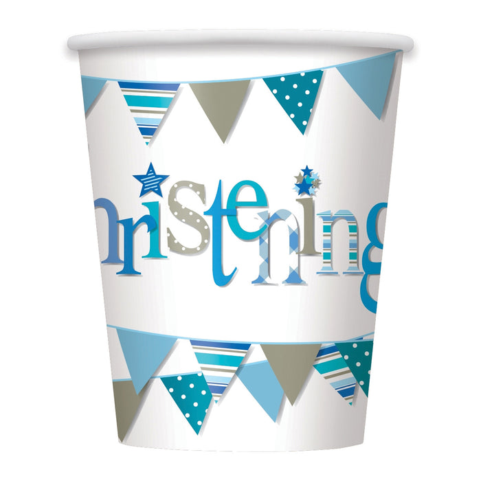 Blue Bunting Christening 9oz Paper Cups, 8ct