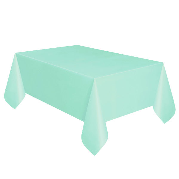 "Mint Solid Rectangular Plastic Table Cover, 54""x108"""