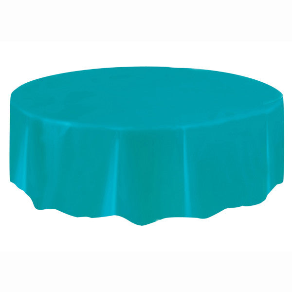 Caribbean Teal Solid Round Plastic Table Cover, 84""