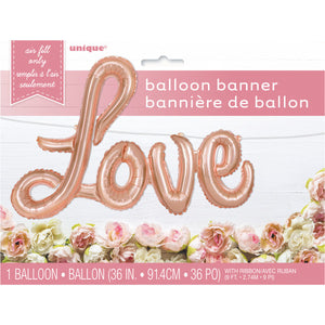 Rose Gold Love Foil Letter Balloon Banner Kit, 36""