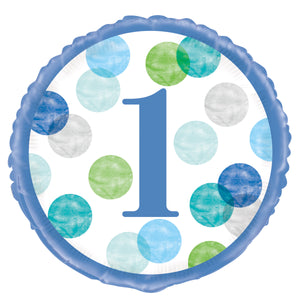 "Blue Dots 1st Birthday Round Foil Balloon 18"", Packaged"