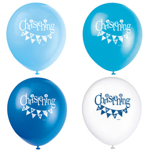 "Blue Bunting Christening 12"" Latex Balloons, 8ct"