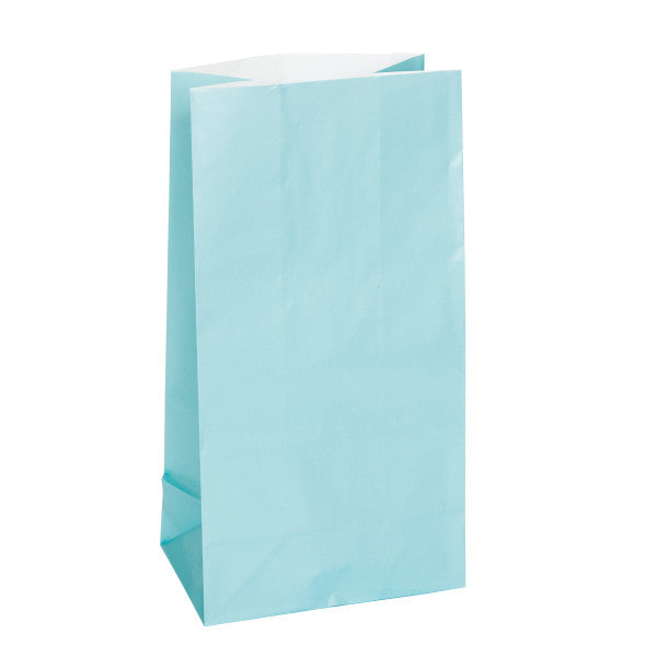 Baby Blue Paper Party Bags, 12ct