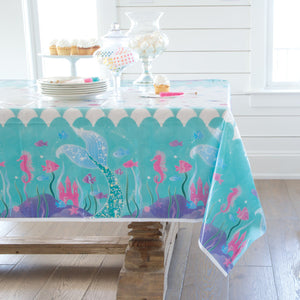 "Mermaid Rectangular Plastic Table Cover, 54""x84"""
