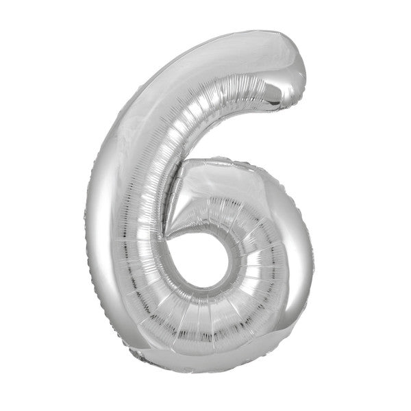 "Silver Number 6 Shaped Foil Balloon 34"", Packaged"