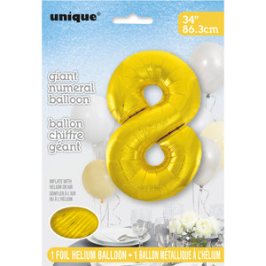 Gold Number 8 Shaped Foil Balloon 34""