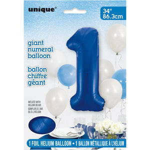 "Blue Number 1 Shaped Foil Balloon 34"", Packaged"