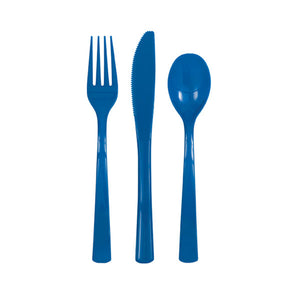 Royal Blue Solid Assorted Plastic Cutlery, 18ct