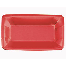 "Red Foil Rectangular 9""x5"" Appetizer Plates, 8ct - Foil Board"
