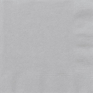 Silver Solid Beverage Napkins, 20ct
