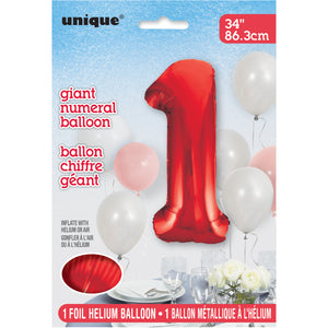 "Red Number 1 Shaped Foil Balloon 34"", Packaged"