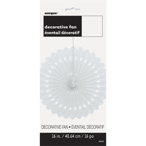 "White Solid 16"" Tissue Paper Fan"