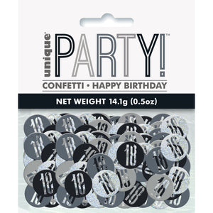 Birthday Black Glitz Number 18 Confetti, .5oz