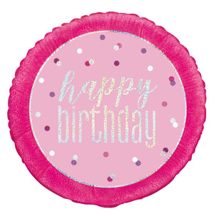 "18"" Glitz Pink & Silver Round Foil Balloon Packaged ""Happy Birthday"""