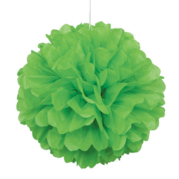 "Lime Green Solid 16"" Hanging Tissue Pom Pom"