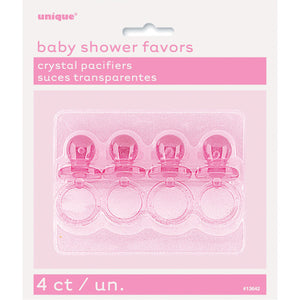 "Pink Crystal Pacifier Favors 2"", 4ct"