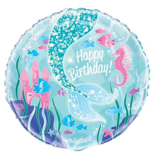 "Mermaid Round Foil Balloon 18"", Packaged"