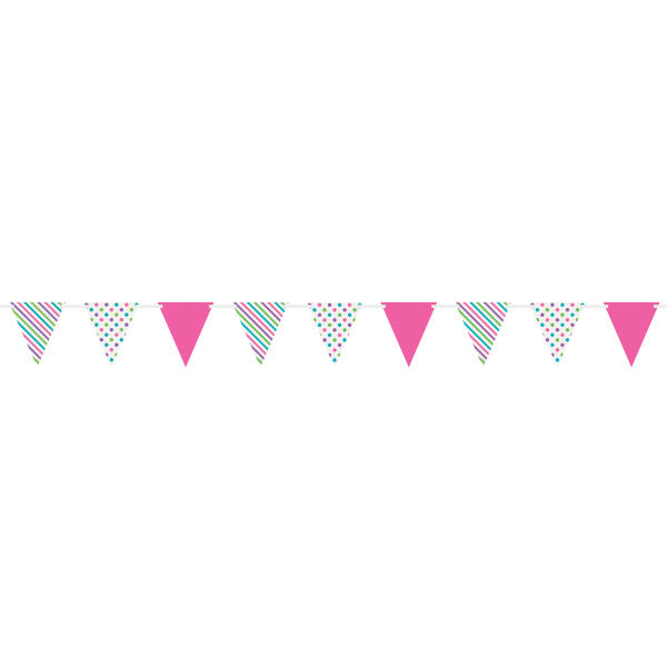 Bright Dots & Stripes Paper Flag Banner, 12 ft