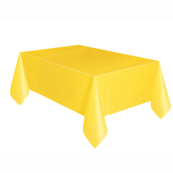 "Sunflower Yellow Solid Rectangular Plastic Table Cover, 54""x108"""