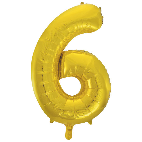 "Gold Number 6 Shaped Foil Balloon 34"", Packaged"