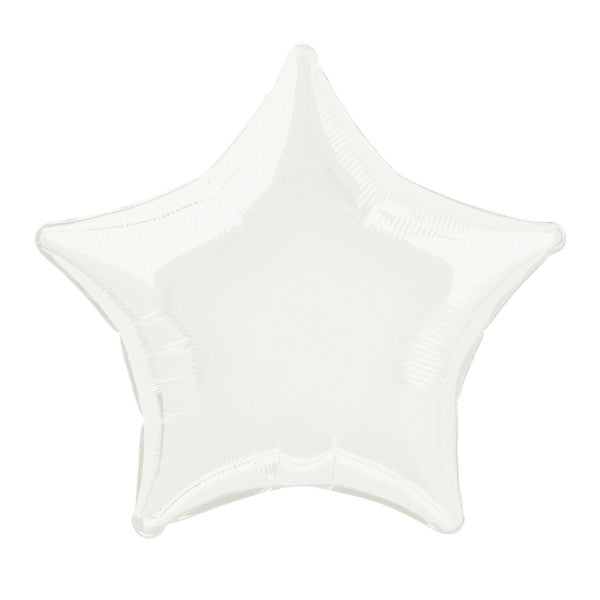 "Solid Star Foil Balloon 20"", Packaged - White"