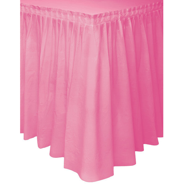 "Hot Pink Solid Plastic Table Skirt, 29""x14ft"