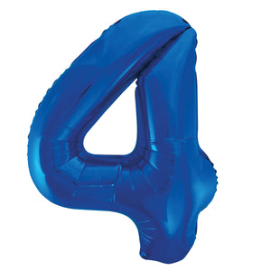 "Blue Number 4 Shaped Foil Balloon 34"", Packaged"