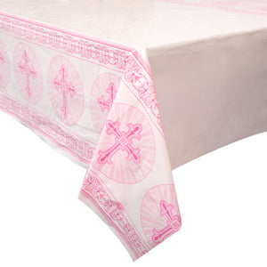"Pink Radiant Cross Rectangular Plastic Table Cover, 54""x84"""