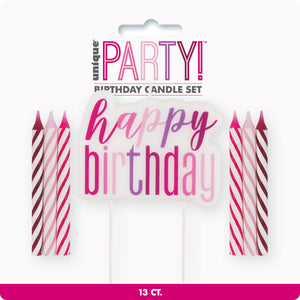 "Glitz Pink, Purple & Magenta ""Happy Birthday"" Candle Set"