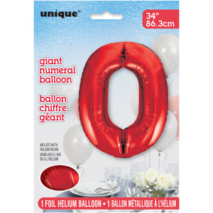 "Red Number 0 Shaped Foil Balloon 34"", Packaged"