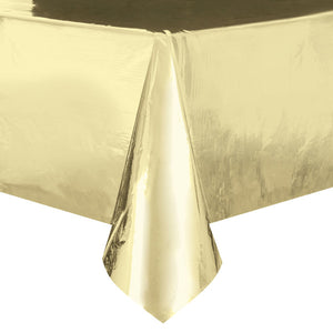 "Gold Foil Rectangular Plastic Table Cover, 54""x108"""