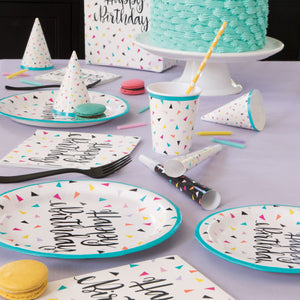 "Triangle Confetti Birthday Round 9"" Dinner Plates, 8ct"