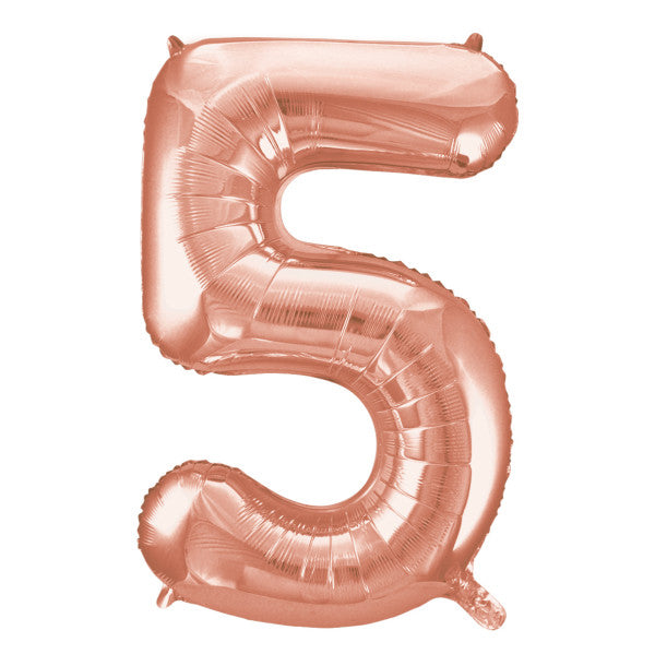 "Rose Gold Number 5 Shaped Foil Balloon 34"", Packaged"