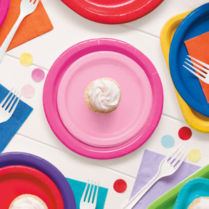"Lovely Pink Solid Round 7"" Dessert Plates, 20ct"