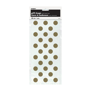 "Gold Dots Cellophane Bags 5""x11"", 20ct"
