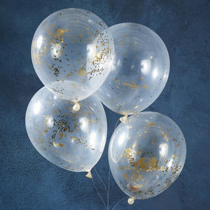 "Ginger Ray Confetti Balloon - 12"" - Gold Glitter"